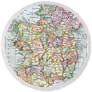 Irish Free State And Northern Ireland From Bacon S Excelsior Atlas Of The World Round Beach Towel