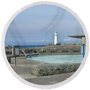 Irish Sea Lighthouse On Pier Round Beach Towel