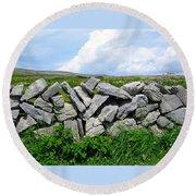 Irish Stone Wall Round Beach Towel