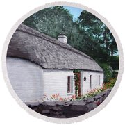 Irish Thatched Cottage Round Beach Towel