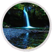 Iron Creek Falls Round Beach Towel