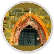 Iron Furnace Stack  Round Beach Towel