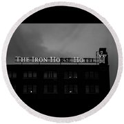 Iron Ho-ho  Black And White Round Beach Towel