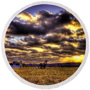 Iron Horse Still Strong Round Beach Towel