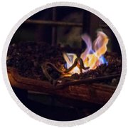 Iron In Fire Oiltreatment Round Beach Towel