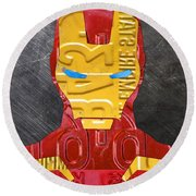 Iron Man Superhero Vintage Recycled License Plate Art Portrait Round Beach Towel