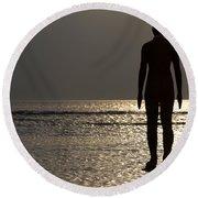 Iron Man Waiting For Sunset 1 Round Beach Towel