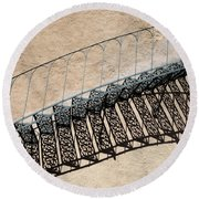Iron Stairs Shadow Round Beach Towel