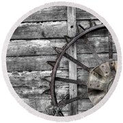 Iron Tractor Wheel Round Beach Towel