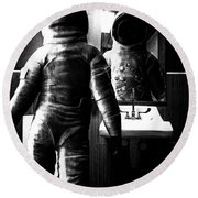 The Astronaut And The Bathroom Round Beach Towel