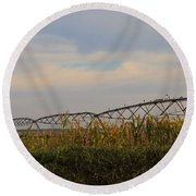 Irrigation On The Farm Round Beach Towel by Dan Sproul