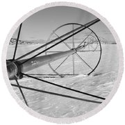 Irrigation Pipe In Winter Round Beach Towel