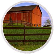 Is Every Barn Red Round Beach Towel