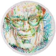 Isaac Asimov Portrait Round Beach Towel