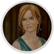 Isabelle Huppert Painting Round Beach Towel