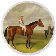 Isinglass Winner Of The 1893 Derby Round Beach Towel by Emil Adam