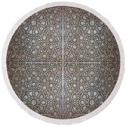 Islamic Wooden Texture Round Beach Towel