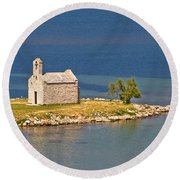 Island Church By The Sea Round Beach Towel by Brch Photography