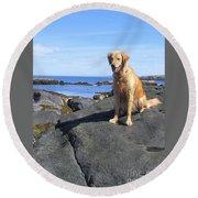 Island Dog Round Beach Towel