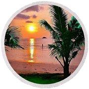 Island Glow Round Beach Towel