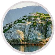 Island In A Lake, Glacier Bay National Round Beach Towel
