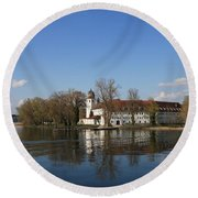 Island In The Lake Round Beach Towel