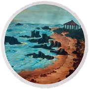 Island Of Dreams Round Beach Towel