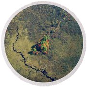 Island Of Fall Color Round Beach Towel