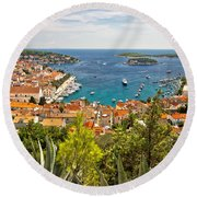 Island Of Hvar Scenic Coast Round Beach Towel