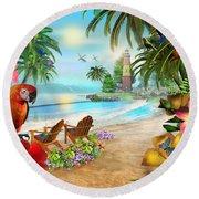 Island Of Palms Round Beach Towel