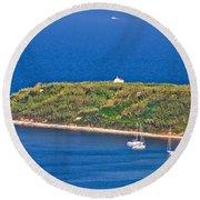 Island Of Susak Cape Church Round Beach Towel