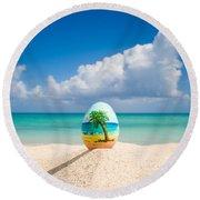 Island Style Easter Egg Round Beach Towel