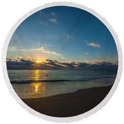 Coastal Beach Sunrise Round Beach Towel