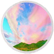 Island Sunrise Round Beach Towel