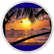 Island Sunset Round Beach Towel