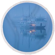 Islands And Boats In The Pacific Ocean Round Beach Towel