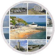 Isle Of Wight Collage - Labelled Round Beach Towel