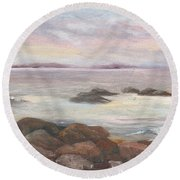 Isles Of Shoals From Odiorne Point Round Beach Towel