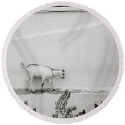 The Surreal Goat Round Beach Towel