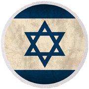 Israel Flag Vintage Distressed Finish Round Beach Towel