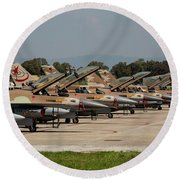 Israeli Air Force F-16`s Of Three Round Beach Towel