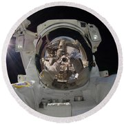 Iss Expedition 32 Spacewalk Round Beach Towel by Nasa Jsc