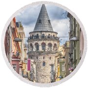 Istanbul Galata Tower Round Beach Towel by Antony McAulay