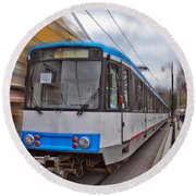 Istanbul Tram In Motion Round Beach Towel