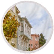 Istanbul Wooden Houses 01 Round Beach Towel