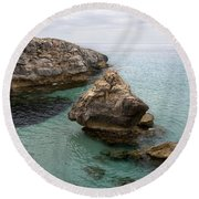 It Rocks 2 - Close To Son Bou Beach And San Tomas Beach Menorca Scupted Rocks And Turquoise Water Round Beach Towel