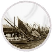 Italian Fishing Boats Fishermen's Wharf San Francisco Circa 1903 Round Beach Towel