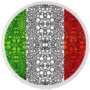 Italian Flag - Italy Stone Rock'd Art By Sharon Cummings Italia Round Beach Towel
