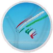 Italian Frecce Tricolori Aerobatics Team Round Beach Towel