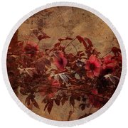 Italian Impasto Style Coral Floral Branch Round Beach Towel